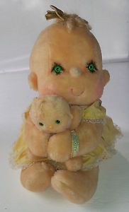 Kenner Hugga Bunch Patooty Baby Doll Toy Tan Green Eyes Yellow Dress Plush 12""