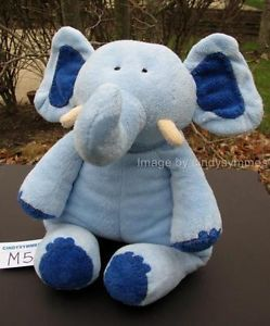 "Pottery Barn Kids Pbk Plush Large 16"" Blue Elephant Animal Baby Lovey Toy EUC"