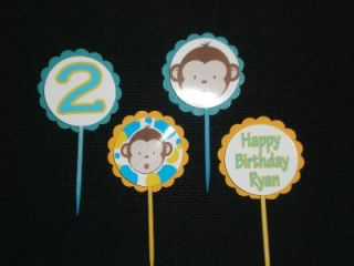 Mod Monkey Birthday Party Cupcake Cake Topper Custom