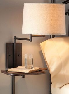 Swing Arm Lamp Wall Mount Pin Up Space Saving Attached Shelf Table Fabric Shade