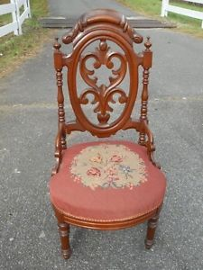 Antique Civil War Era Hand Carved Walnut Chair Needlepoint Seat Virginia