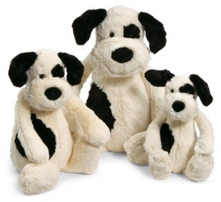 Jellycat Bashful Black Cream Puppy Dog Large Stuffed Animal New