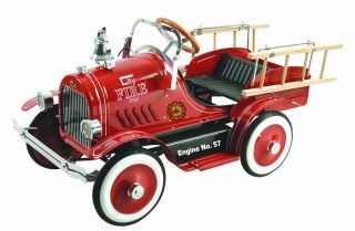 Kids Deluxe Vintage Collectible Fire Engine Truck Pedal Car Tractor Christmas