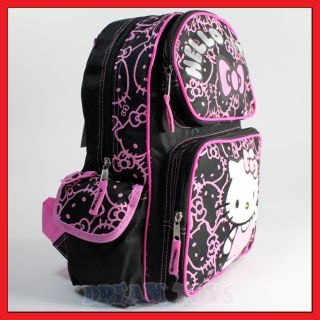 "Sanrio Hello Kitty Black Glitter 14"" Backpack Bag School Girls Kids Med"