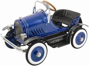 New Retro Vintage Style Blue Roadster Childs Ride on Pedal Car Toy