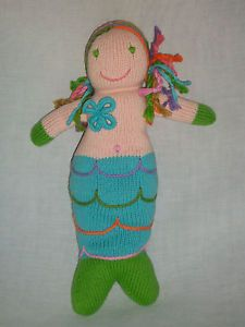 "13"" Blabla Kids Knit Crocheted Mermaid Little Girl Colorful Braids Stuffed Plush"