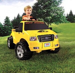 Ford Electric Yellow Race Truck Kids Motorized Power Wheels Toy Ride on F 150