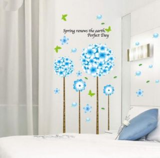 Blue Flying Flower Tree Removable Wall Sticker Art Mural Vinyl Decal Home Decor