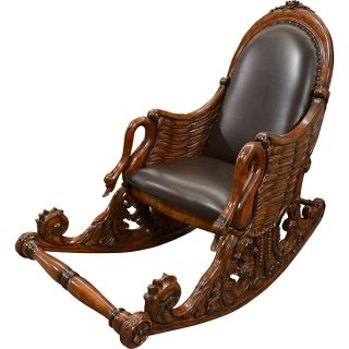 Swan Rocking Chair Sold Hand Carved Mahogany Leather Seat Back New