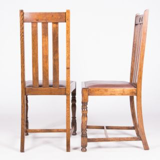 Pair of Art Deco Dining Chairs Solid Oak 1930s 40s Railback Kitchen Chairs