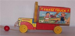 Vintage Fisher Price Campbell Kids Farm Truck Pull Toy No 845