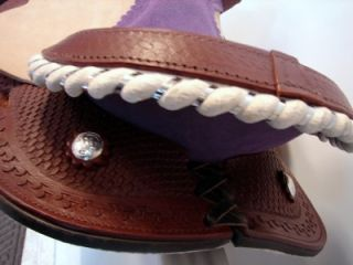 "12"" Natural w Purple Kid Western Trail Barrel Racer Saddle Headstall Breastplate"