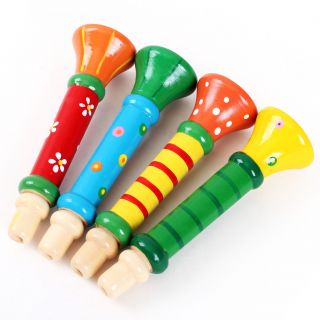 1× Baby Kids Children's Wooden Horn Hooter Trumpet Basic Blow Instruments Toys