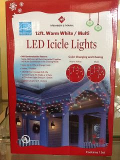 LED Warm White or Multi Color LED Icicle Indoor Outdoor Christmas Lights 12'