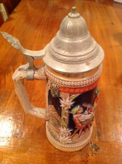 Vintage German Lidded Beer Stein Mug Hand Painted w Scenes Large Antique Work