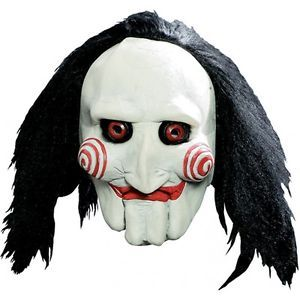 Jigsaw Puppet Mask Saw Adult Mens Scary Horror Movie Halloween Costume Accessory