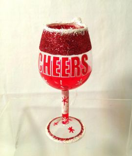 "New Kurt Adler 4 inch Christmas Wine Glass Ornament ""Cheer"" H8140C New"