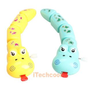 Children Plastic Cartoon Snake Clockwork Wind Up Cute Kids Funny Toy T1K
