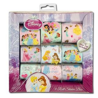 150pc Officially Licensed Disney Princesses 9 Roll Girls Art Sticker Box Set