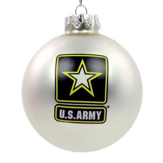 New Kurt Adler U s Army Official Silver Glass Ball 80mm Ornament