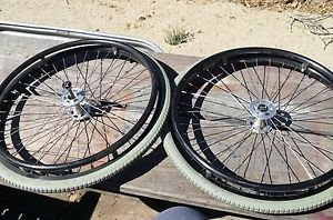2 Slightly Used TI Lite TR Wheelchair Tires and Wheels Quick Release Hubs