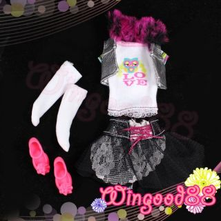 3 Set Handmade Fashion Outfits Casual Dress Skirt Handbag Shoes for Barbie Dolls