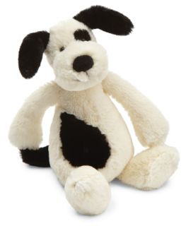 Jellycat Bashful Black Cream Puppy Small Stuffed Animal Plush New