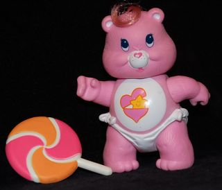 "Vintage Kenner 1984 Baby Hugs Care Bear 3"" Poseable Figure Complete w Accessory"