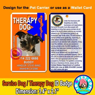 Service Therapy Dog ID Badge with Asclepius