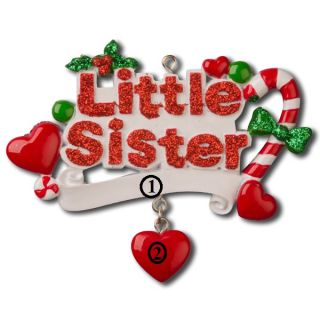 Little Sister Girl Child Personalized Holiday Christmas Tree Ornament Gift 2013
