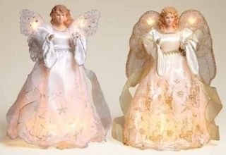 2 Silver Gold Lighted Christmas Angel Tree Toppers