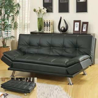 Details about Contemporary White Faux Leather Pillow Top Seating Futon