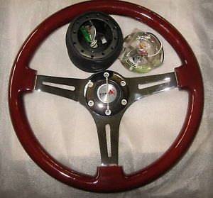 "Matrix Type x 14"" Racing Steering Wheel Wood Grain GM Installation Kit"