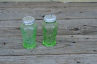 Vintage Green Depression Glass Salt and Pepper Shakers Anchor Hocking Glass