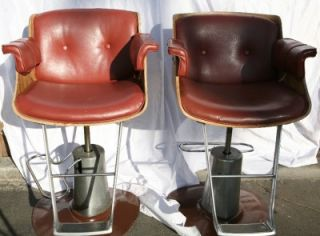 Belvedere 30 Barber Salon Chair Mid Century Modern British Tan Hydraulic Base