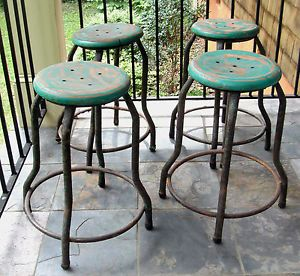 Lot 4 Vintage Antique Metal Industrial Bar Stools Pub Diner Chairs Shabby Chic