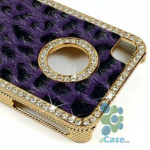 Purple Fur Black Cheetah Leopard Diamond Rhinestone Bling Case Cover iPhone 4 4S
