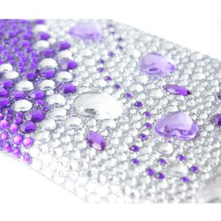 Purple Silver Gems Bling Hard Case Cover Apple iPod Touch 5 5g 5th Gen Accessory