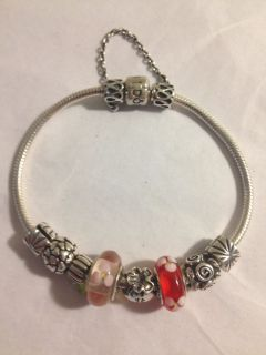 Authentic Pandora Bracelet with Charms Clips Safety Chain