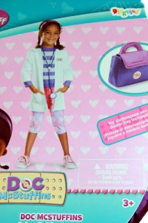 New 6pc Disney Doc McStuffins Deluxe Girls Dress Costume 3T 4T Bonus Doctor Bag