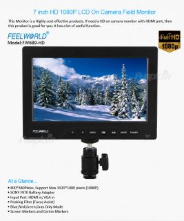 Protable 1080p on Cameracrane Jib Field Monitor DSLR HDMI VGA w F970 Adapter