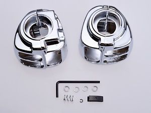 Handlebar Switch Housings Set Chrome for Harley Davidson Sportster Dyna Softail