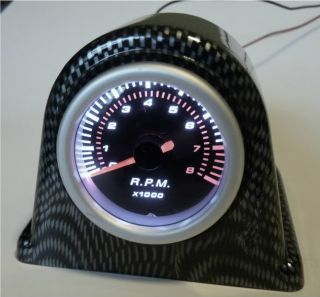"Single Gauge Meter Pod Holder Bracket 2"" or 52mm Carbon Fiber Housing"