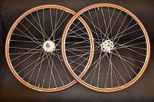 Campagnolo Record Hubs Wheel Set Mavic G40 Rims Campy Skewers High Flange DT
