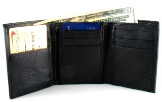 Men Black Soft Leather Tri Fold Tri Fold Wallet S755