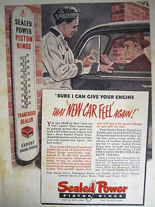 1930's SEALED Power Piston Rings Car Service Thermometer Store Litho Sign