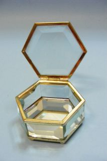 Fine Vintage Collectible Etched Glass Brass Mirror Trinked Jewelry Box Case