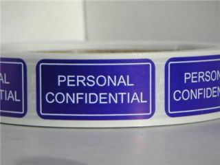 Personal Confidential Warning Stickers Labels 500 RL