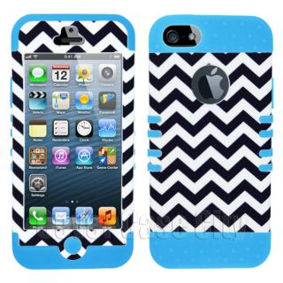 Black White Chevron Tribal w Light Blue Cover Case for Apple iPhone 5 6th Gen