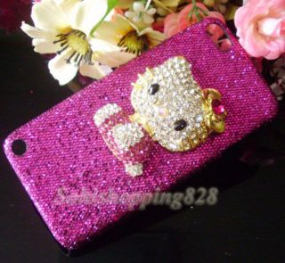 3D Hot Pink Hello Kitty Bling Hard Case Cover for Apple iPod Touch 5 5th Gen